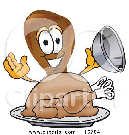 Chicken Drumstick Mascot Cartoon Character Serving a Thanksgiving Turkey on a Platter Posters, Art Prints