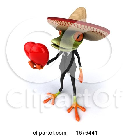 3d Green Mexican Business Frog, on a White Background Posters, Art Prints