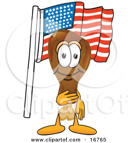 Clipart Picture of a Chicken Drumstick Mascot Cartoon Character Pledging Allegiance to an American Flag by Toons4Biz