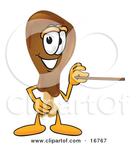 Clipart Picture of a Chicken Drumstick Mascot Cartoon Character Holding a Pointer Stick by Toons4Biz