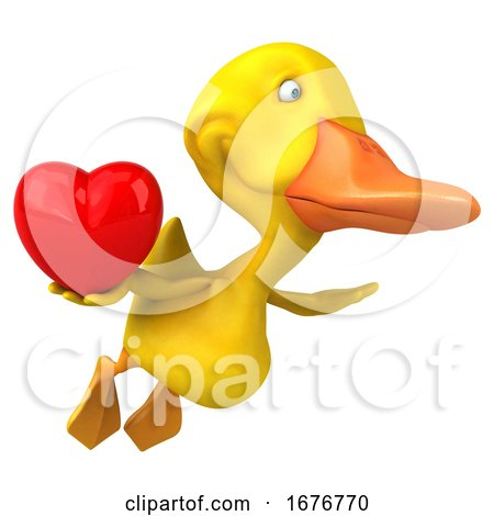 3d Yellow Duck, on a White Background Posters, Art Prints
