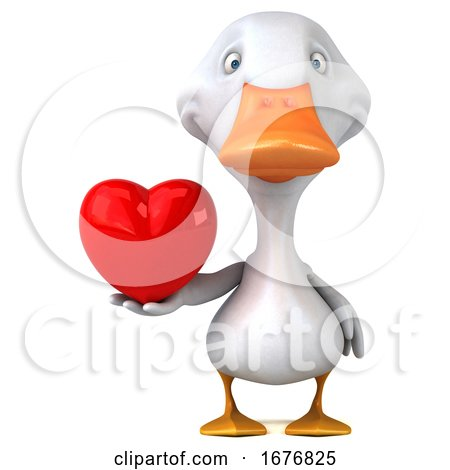 3d White Duck, on a White Background Posters, Art Prints