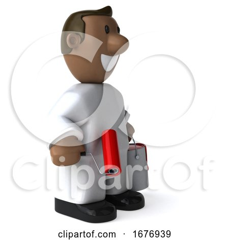 3d Black Male Painter, on a White Background Posters, Art Prints