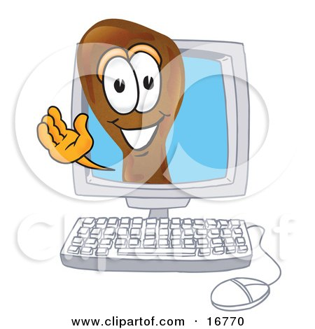 Clipart Picture of a Chicken Drumstick Mascot Cartoon Character Waving From Inside a Computer Screen by Toons4Biz