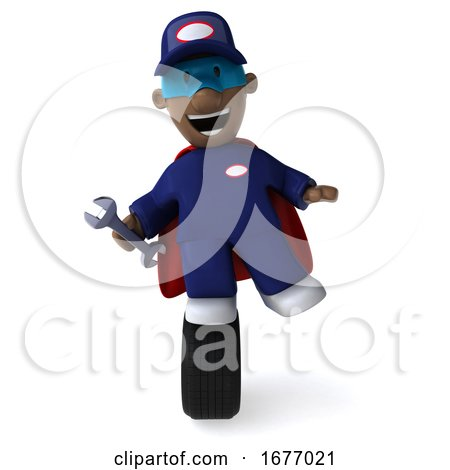 3d Black Male Mechanic, on a White Background by Julos
