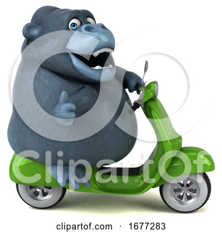 3d Gorilla Riding a Scooter, on a White Background by Julos
