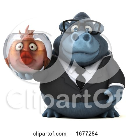 3d Business Gorilla Holding a Fish Bowl, on a White Background by Julos