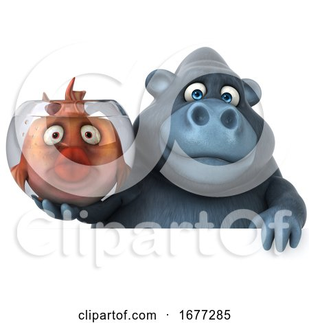 3d Gorilla Holding a Fish Bowl, on a White Background by Julos