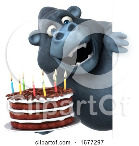 3d Gorilla, on a White Background by Julos