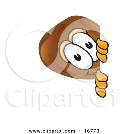 Clipart Picture of a Chicken Drumstick Mascot Cartoon Character Peeking Around a Corner by Toons4Biz