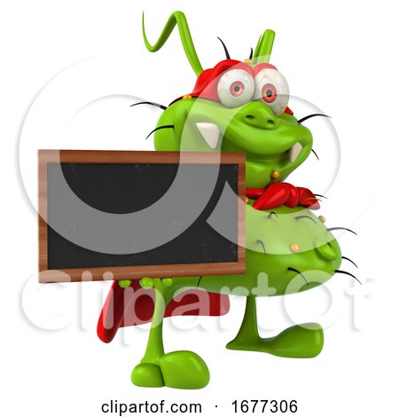 3d Green Super Germ Monster Holding a Blackboard, on a White Background by Julos