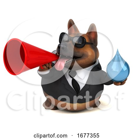 3d Business German Shepherd Dog, on a White Background by Julos