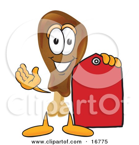 Clipart Picture of a Chicken Drumstick Mascot Cartoon Character Holding a Red Sales Price Tag  by Toons4Biz
