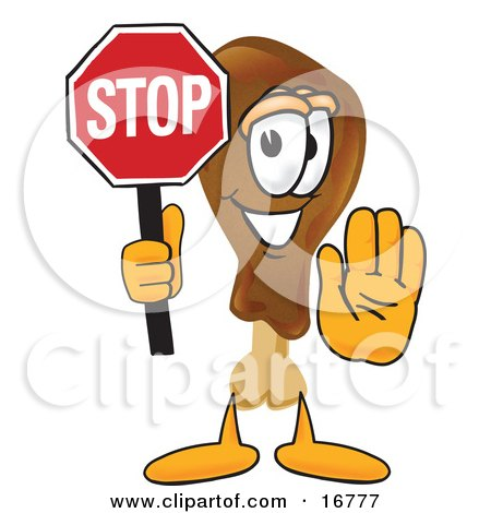 Clipart Picture of a Chicken Drumstick Mascot Cartoon Character Holding a Stop Sign by Toons4Biz