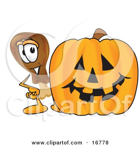 Clipart Picture of a Chicken Drumstick Mascot Cartoon Character With a Carved Halloween Pumpkin  by Toons4Biz
