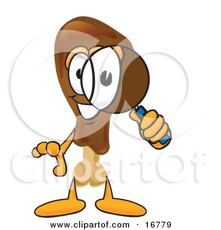 Clipart Picture of a Chicken Drumstick Mascot Cartoon Character Looking Through a Magnifying Glass by Toons4Biz