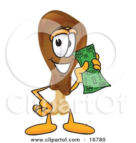 Chicken Drumstick Mascot Cartoon Character Holding a Dollar Bill Posters, Art Prints