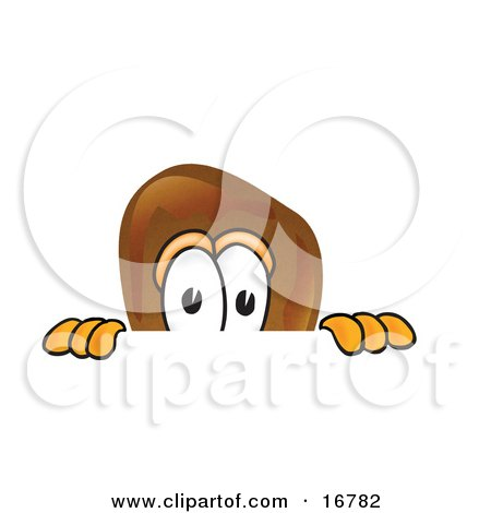 Chicken Drumstick Mascot Cartoon Character Peeking Over a Surface Posters, Art Prints