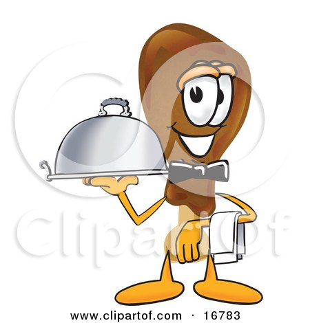 Clipart Picture of a Chicken Drumstick Mascot Cartoon Character Dressed as a Waiter and Holding a Serving Platter by Toons4Biz