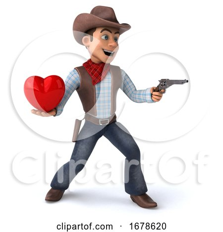 3d Western Cowboy, on a White Background Posters, Art Prints