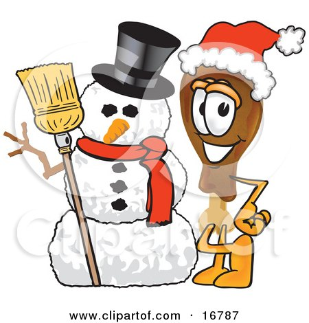 Chicken Drumstick Mascot Cartoon Character With a Snowman on Christmas Posters, Art Prints
