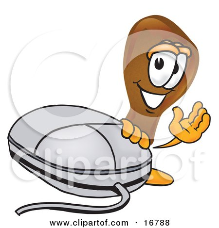 Clipart Picture of a Chicken Drumstick Mascot Cartoon Character With a Computer Mouse by Toons4Biz
