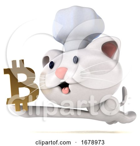 3d Chef White Cat, on a White Background by Julos