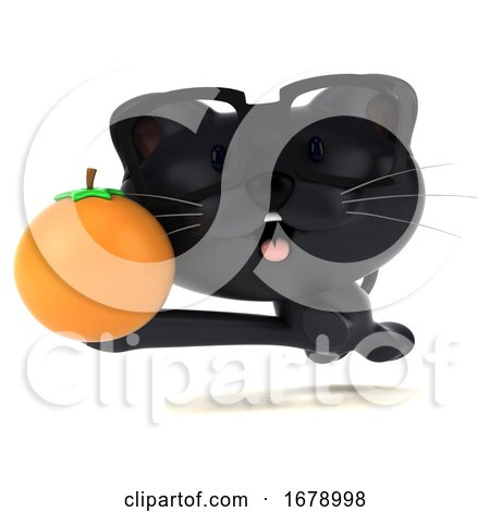 3d Black Kitten, on a White Background by Julos