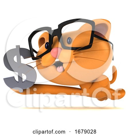 3d Ginger Cat, on a White Background by Julos