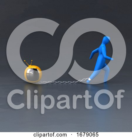 3d Blue Person Chained to a Burden by Julos
