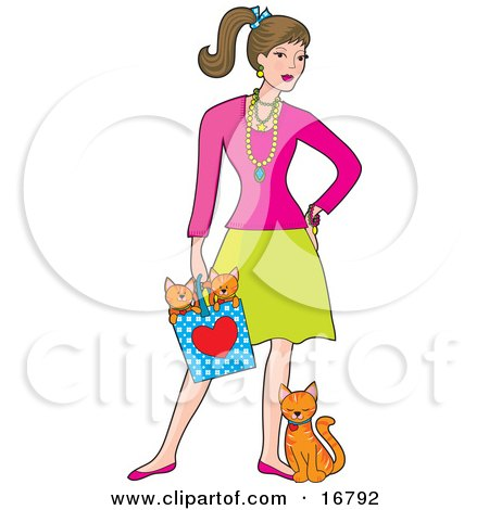 Stock Clipart of a Fashionable Young Caucasian Brunette Woman Wearing A Lot Of Jewelery And Holding A Bag With Two Orange Kittens In It While The Mother Cat Leans And Rubs Against Her Leg by Maria Bell