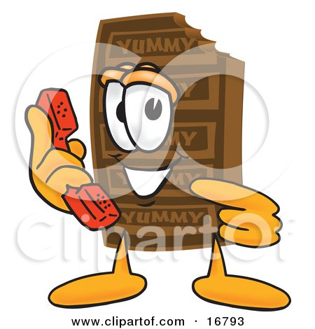 Clipart Picture of a Chocolate Candy Bar Mascot Cartoon Character Holding a Telephone by Toons4Biz