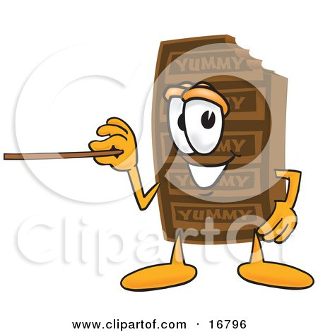 Clipart Picture of a Chocolate Candy Bar Mascot Cartoon Character Holding a Pointer Stick by Toons4Biz