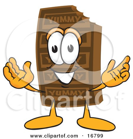 Clipart Picture of a Chocolate Candy Bar Mascot Cartoon Character With Welcoming Open Arms by Toons4Biz