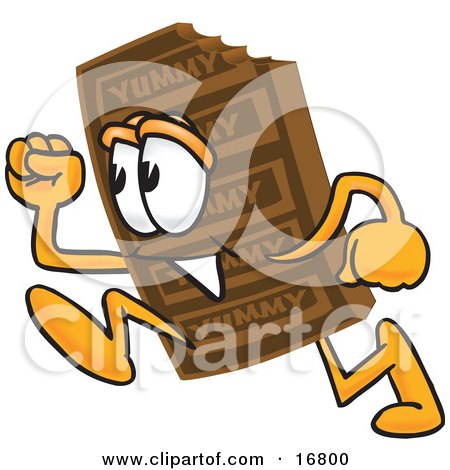 Clipart Picture of a Chocolate Candy Bar Mascot Cartoon Character Running by Toons4Biz