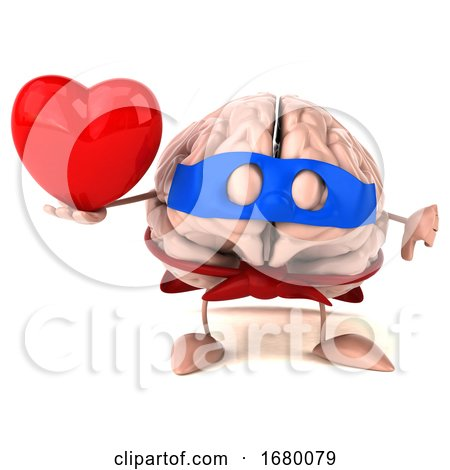 3d Super Brain Character, on a White Background Posters, Art Prints
