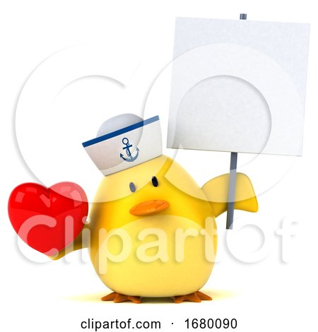 3d Yellow Bird Sailor, on a White Background Posters, Art Prints