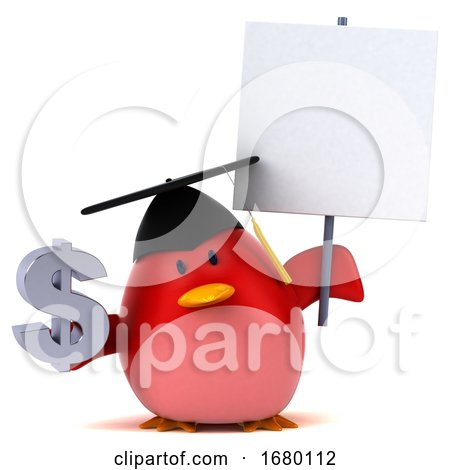 3d Red Bird Graduate, on a White Background by Julos