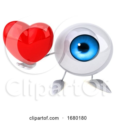 3d Blue Eyeball Character, on a White Background Posters, Art Prints