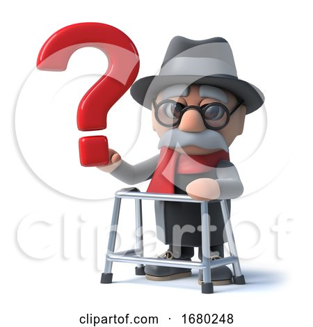 3d Cartoon Old Man with Walking Frame Holds a Question Mark by Steve Young