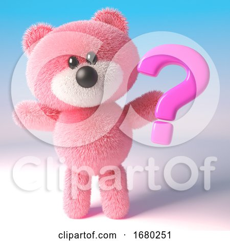 3d Teddy Bear with Pink Fluffy Fur Holding a Pink Question Mark Symbol, 3d Illustration by Steve Young