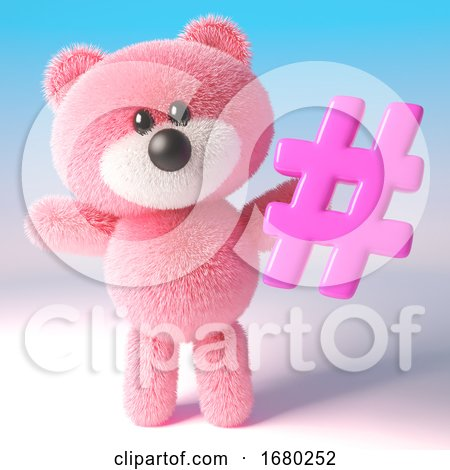 3d Pink Teddy Bear Character Holding a Pink Social Media Hashtag Hash Tag Symbol, 3d Illustration by Steve Young