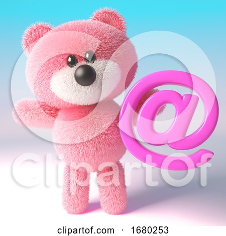 3d Pink Teddy Bear with Fluffy Fur Holding an Email Address Symbol, 3d Illustration by Steve Young