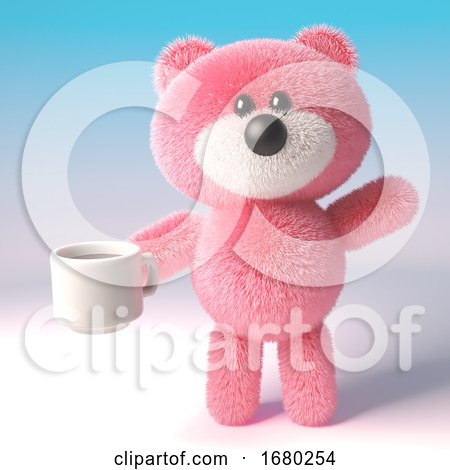 3d Pink Teddy Bear Character with Fluffy Fur Drinking a Cup of Coffee, 3d Illustration by Steve Young