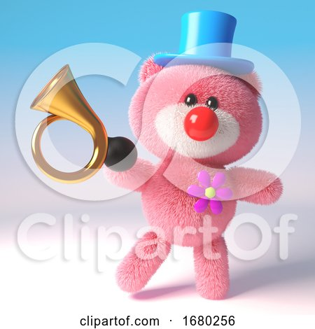 3d Pink Teddy Bear Cuddly Toy Dressed As a Clown with Red Nose, Top Hat and Old Car Horn, 3d Illustration by Steve Young