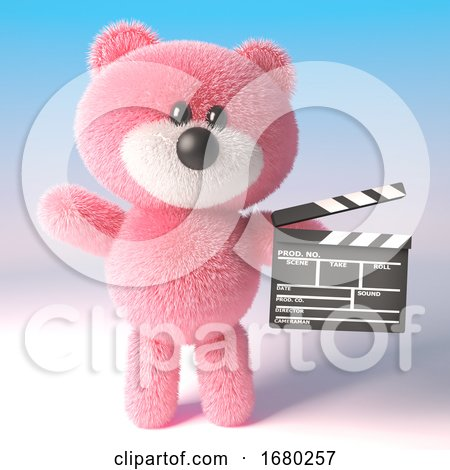 3d Pink Teddy Bear Cuddly Toy Character Holding a Movie Maker Film Slate, 3d Illustration by Steve Young