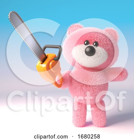 3d Pink Fluffy Teddy Bear Cuddly Toy Holding a Chainsaw, 3d Illustration by Steve Young