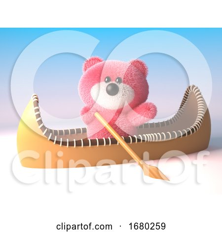 3d Pink Fluffy Teddy Bear Cuddly Toy in a Kayak Canoe, 3d Illustration by Steve Young