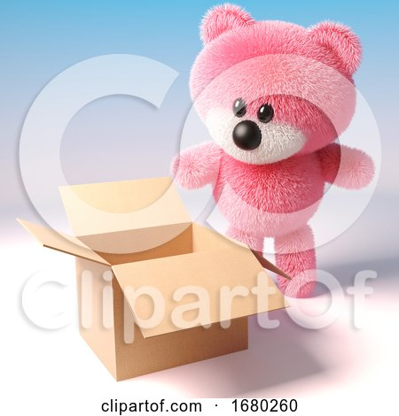 3d Pink Teddy Bear with Fluffy Fur Looking into an Empty Cardboard Box, 3d Illustration by Steve Young