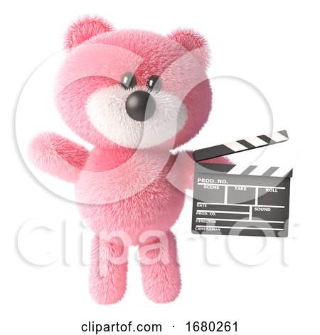 3d Pink Teddy Bear with Fluffy Fur Holding a Movie Slate Clapperboard, 3d Illustration by Steve Young
